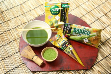"""【Nationwide】The popular ice cream """"Papiko, Giant Cone Ice Cream, Ice no mi (Ice seeds)"""" is filled with green tea!"""